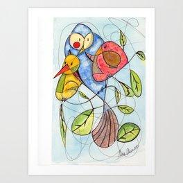 Crowded branch Art Print