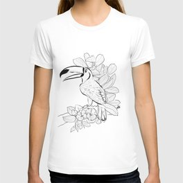 Toucan Tropical Jungle Exotic Bird in my Garden_ Black and White palette_digital drawing T-shirt