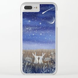 Hares and the Crescent Moon Clear iPhone Case