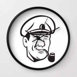 Sea Captain Smiling Smoke Pipe Retro Wall Clock