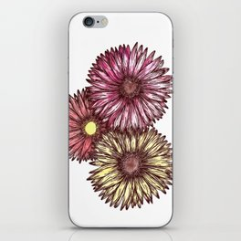 Pink and Yellow Gerber Daisies Watercolor and Ink Painting iPhone Skin