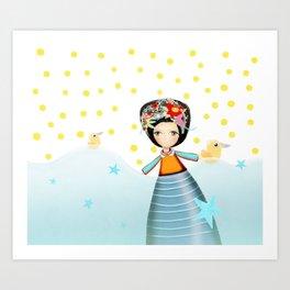 Frida and Ducks Yellow Polka Dots Art Print