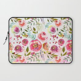 blush pink peonies watercolor fuchsia flowers Laptop Sleeve