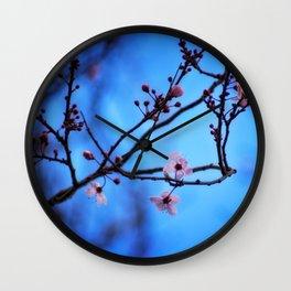 Blossom in Blue Wall Clock