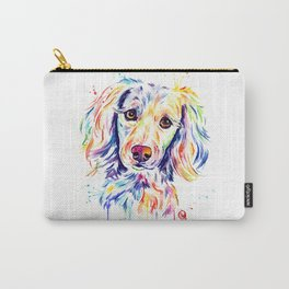 Colourful Pup Watercolor Pet Portrait Painting Carry-All Pouch