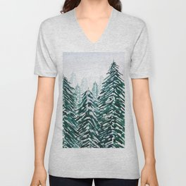 snowy pine forest in green Unisex V-Neck