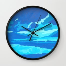 paisaje azul Wall Clock
