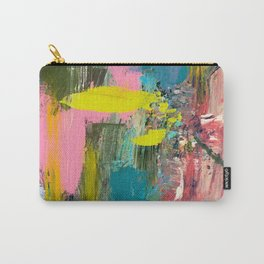 Collision - a bright abstract with pinks, greens, blues, and yellow Carry-All Pouch