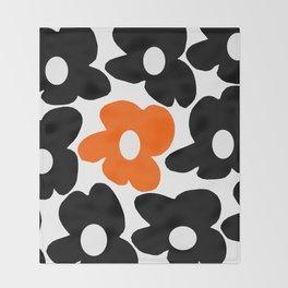 Large Orange and Black Retro Flowers White Background #decor #society6 #buyart Throw Blanket