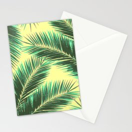 Tropical Palm Leaf Pattern 3 - Tropical Wall Art - Summer Vibes - Modern, Minimal - Green, Beige Stationery Cards