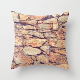 Rocky Stone Masonry Cladding Throw Pillow