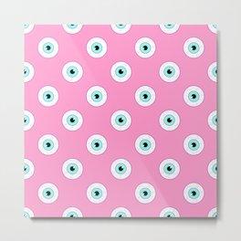 Blue Eyes on Pink Metal Print