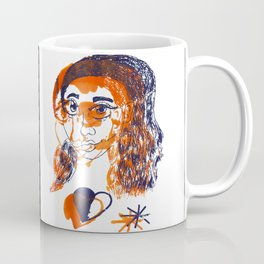 Female Orange and Purple Abstract Screenprint Coffee Mug