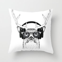 Deer listening the Music using Headphone Throw Pillow