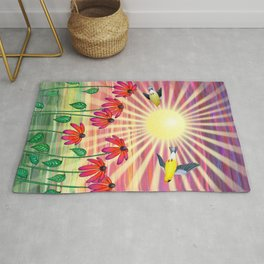 goldfinches sunshine flight Rug