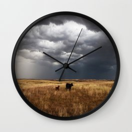 Life on the Plains - Cow Watches Over Playful Calf in Oklahoma Wall Clock