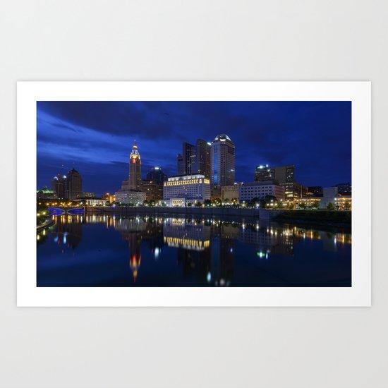 City reflections Columbus Ohio Art Print