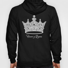 County of Queens   NYC Borough Crown (WHITE) Hoody