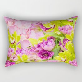 Tropical Symphony Of Peonies And Orchids Rectangular Pillow