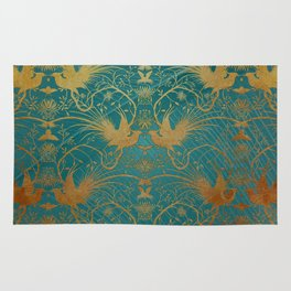 """Turquoise and Gold Paradise Birds"" Rug"