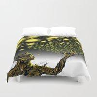 fireflies Duvet Covers featuring Fireflies Groot  by thelocabat