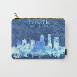 louisville skyline vintage blue Carry-All Pouch
