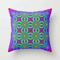 psychedelic art Throw Pillows featuring PSYCHEDELIC flowers by 2sweet4words Designs