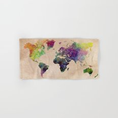 Watercolor world Map Hand & Bath Towel