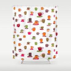 Coffee Cup Green & Orange Shower Curtain
