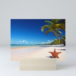 Starfish Tropical Sandy Beach Palm Tree Island Mini Art Print
