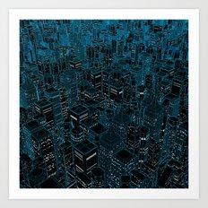 Night light city / Lineart city in blue Art Print
