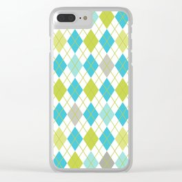 Retro 1980s Argyle Geometric Pattern in Modern Bright Colors Blue Green and Gray Clear iPhone Case