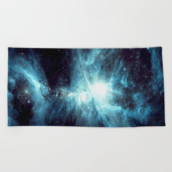 Orion Nebula Teal  Beach Towel