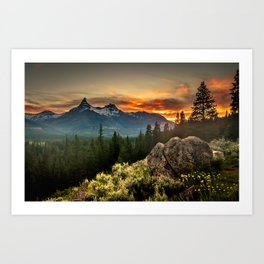 Sunset over Pilot Peak Art Print