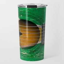 Old Vintage Acoustic Guitar with Guyanese Flag Travel Mug