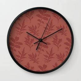 Block Print Mugwort Leaf Toss in Redwood + Chili Oil Wall Clock
