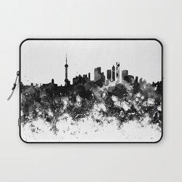 Shanghai skyline in black watercolor Laptop Sleeve