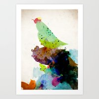 contemporary Art Prints featuring Bird standing on a tree by contemporary