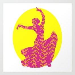 Flamenco Floral Dancer, Sun Art Print