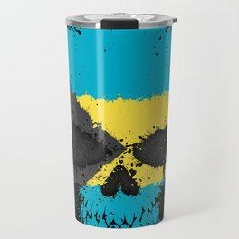 Flag of Bahamas on a Chaotic Splatter Skull Travel Mug