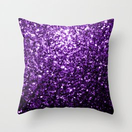 Beautiful Dark Purple glitter sparkles Throw Pillow