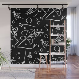 Botanical monochrome pattern from white plants and grass on a black background. Wall Mural