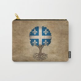 Vintage Tree of Life with Flag of Quebec Carry-All Pouch