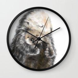 Sea Otter Mom and Baby Art Wall Clock