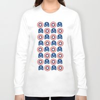 steve rogers Long Sleeve T-shirts featuring Steve Rogers by Aya Ghoneim
