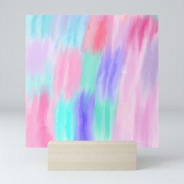 Pink teal lavender watercolor brushstrokes pattern Mini Art Print
