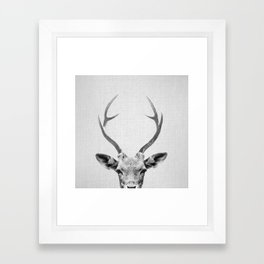 Deer - Black & White Framed Art Print