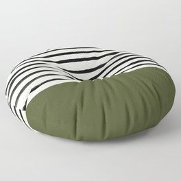 Olive Green x Stripes Floor Pillow