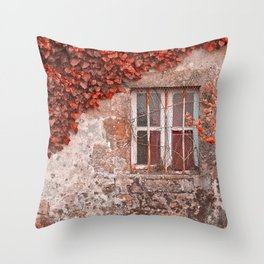 Red Ivy Wall Throw Pillow