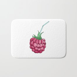 red raspberries with a cocktail straw . illustration Bath Mat